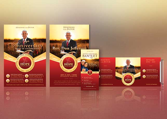 pastor anniversary template kit flyer program ticket banner