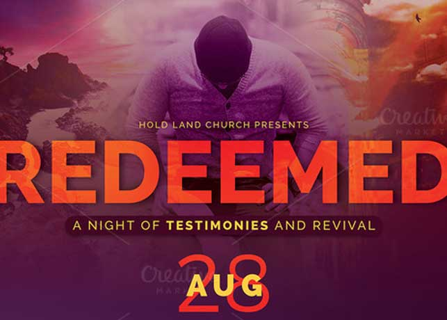 Redeemed revival church flyer template inspiks market for Free church revival flyer template