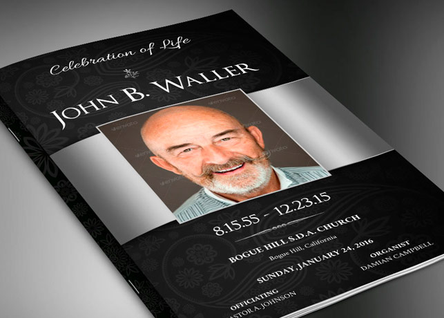 Black Silver Dignity Funeral Program Publisher Template