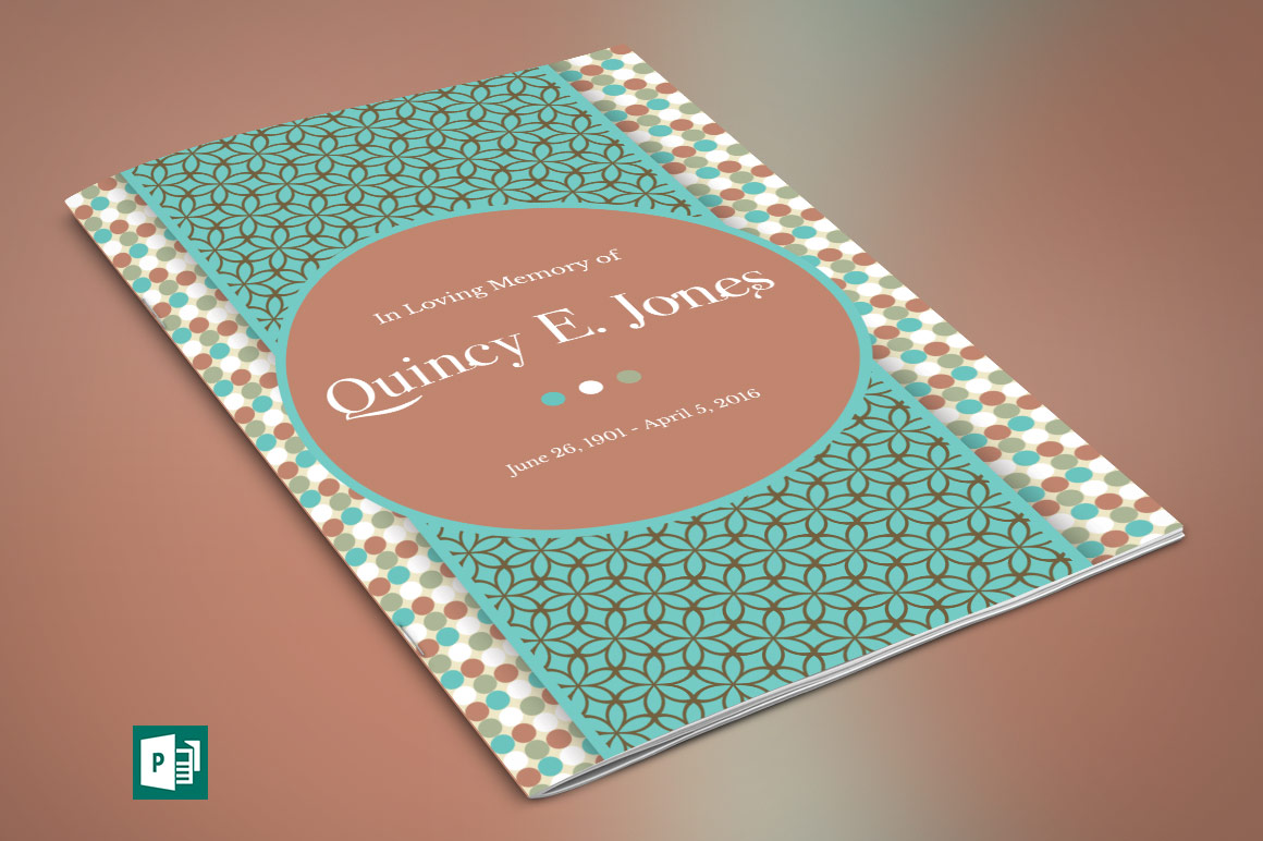 Teal Funeral Program Publisher Template