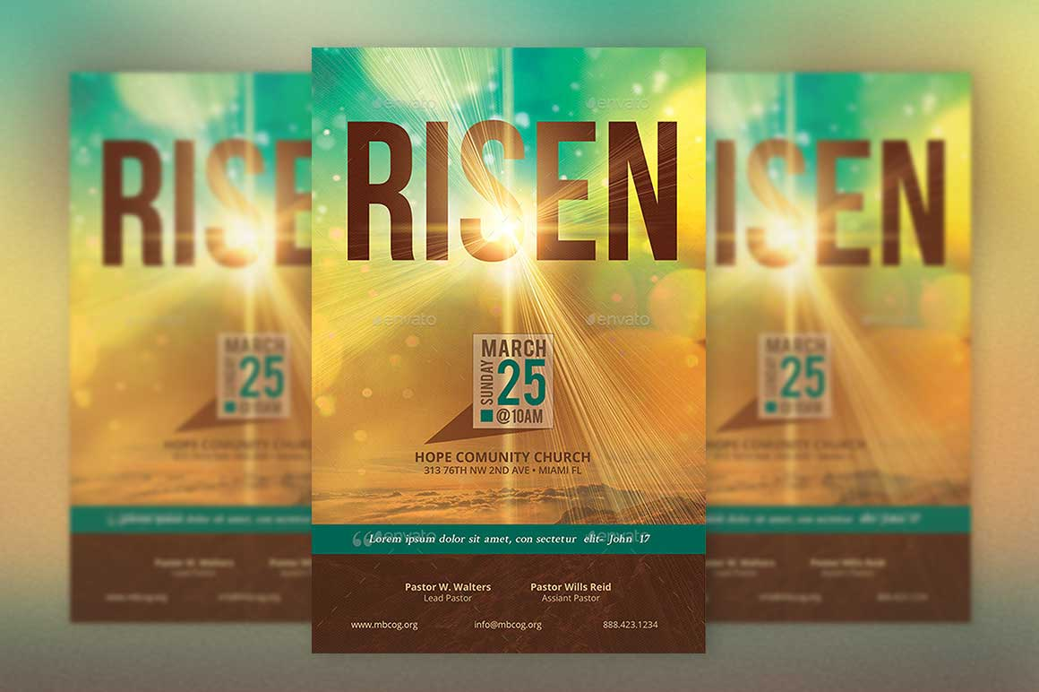 creative church templates market risen easter church flyer