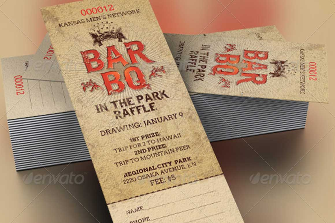 barbeque raffle ticket template church picnic family reunion