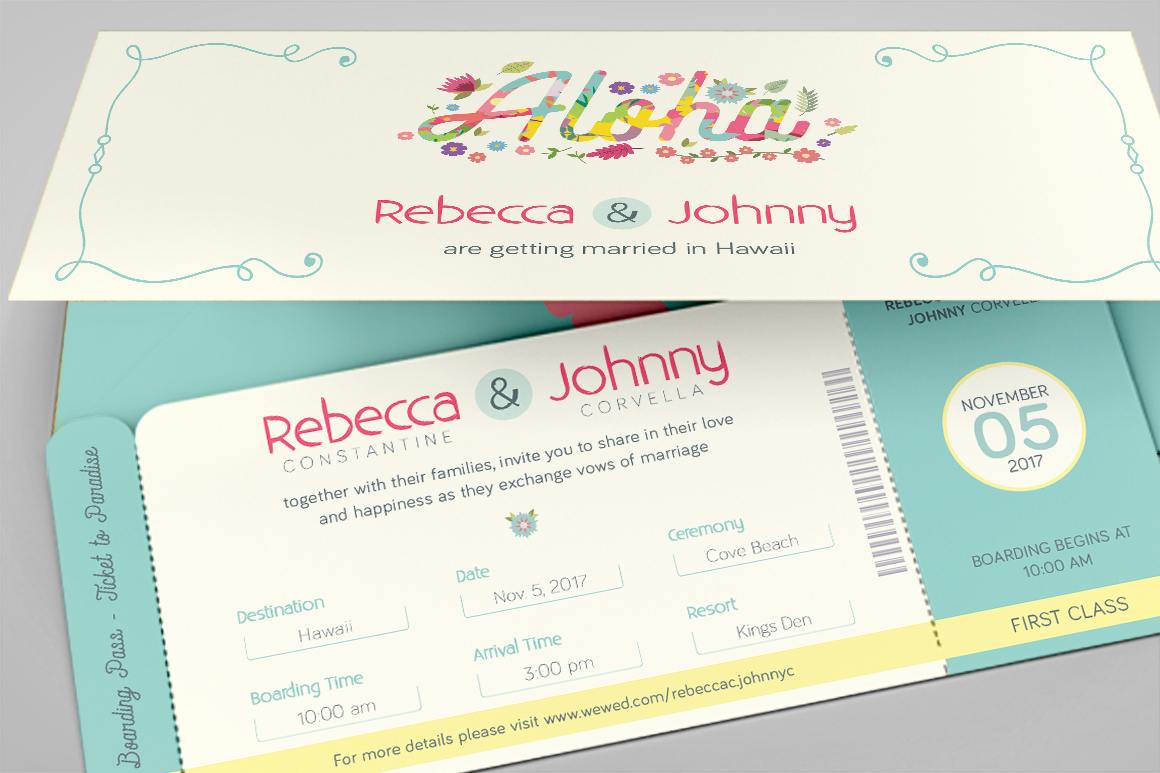 Hawaiian Wedding Boarding Pass Invitation Template Inspiks Market