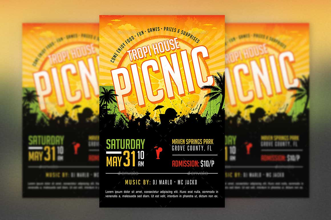 tropical picnic flyer template church picnic funday family reunion