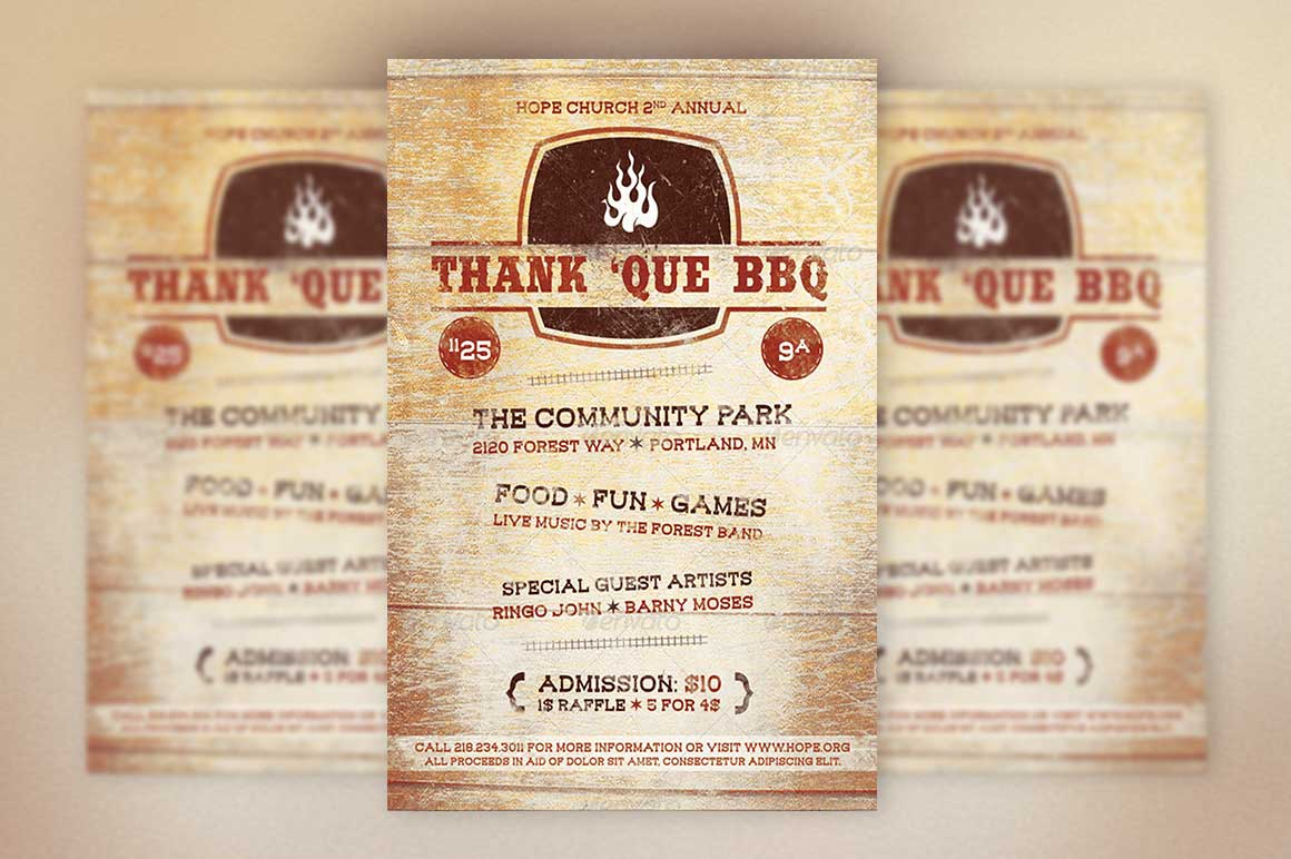 Inspiks market creative church marketplace flyers for Bbq tickets template