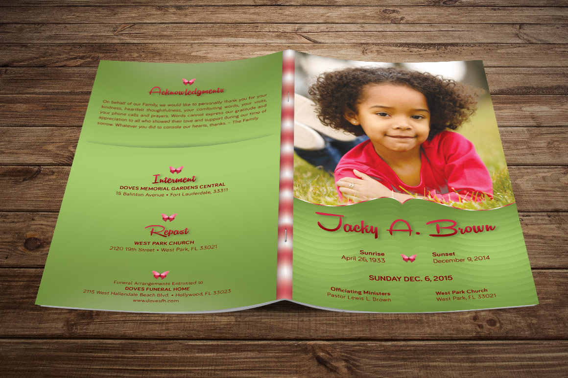 Wonderful Child Funeral Program Template