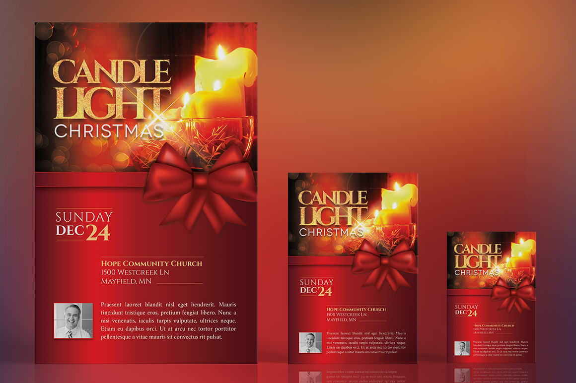 christmas candle light flyer poster template inspiks market