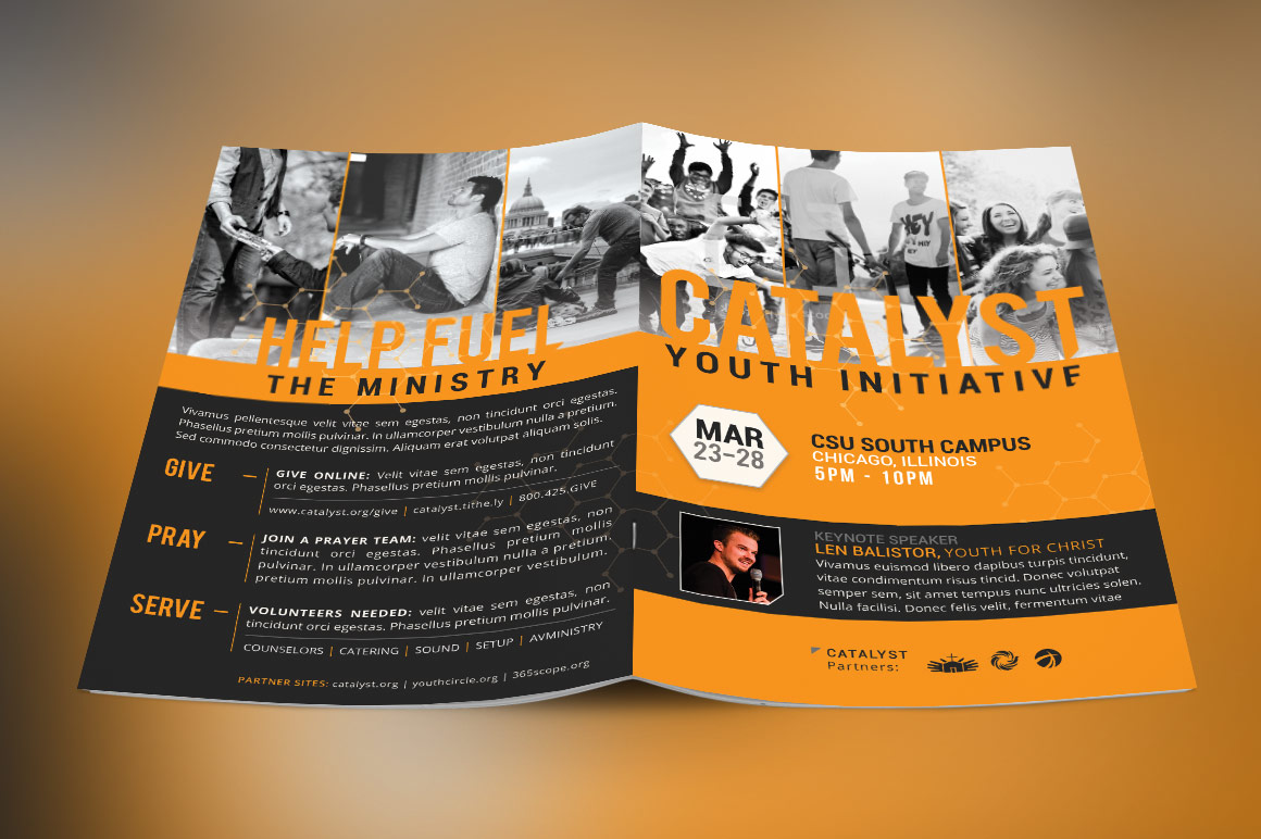 Catalyst Youth Summit BiFold Brochure Template Inspiks Market - 5 fold brochure template