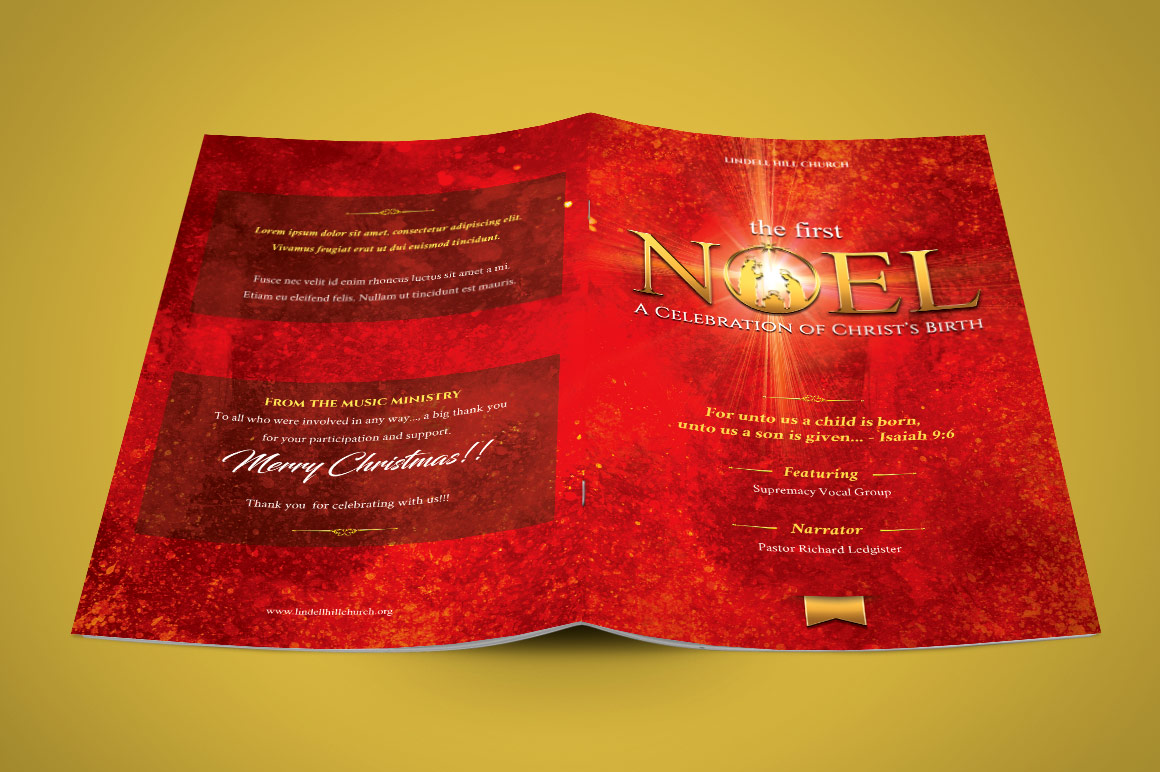 First noel christmas concert program template red and gold inspiks christmas concert program pronofoot35fo Gallery