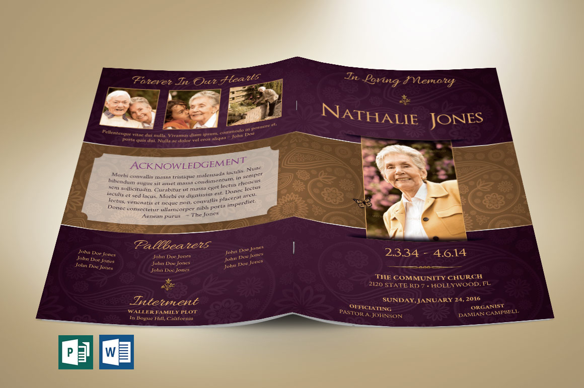 royal funeral service program publisher word template