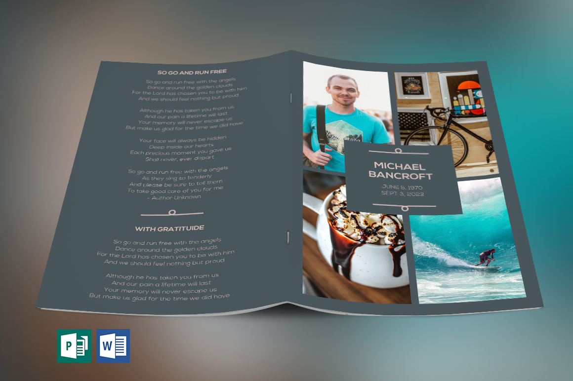 Oceans Funeral Program Word Publisher Template Is Designed For Memorial Or Services The Coral Colors With Beautiful Typography Makes This A Great