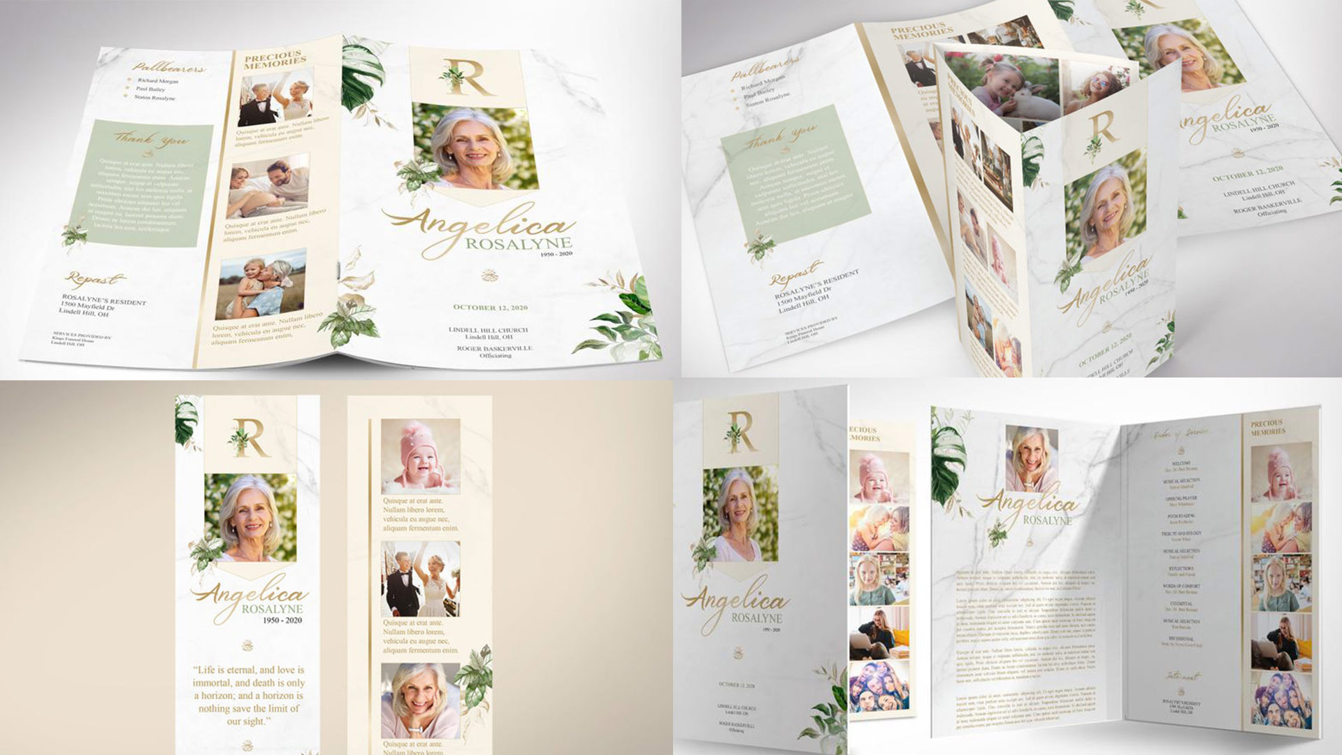 Tropica Funeral Program Word Publisher Stationery