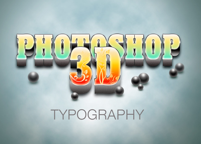 Photoshop 3D Typography PSD File
