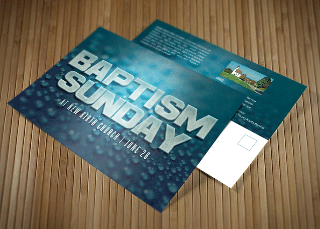 Baptism Sunday Church Postcard Template