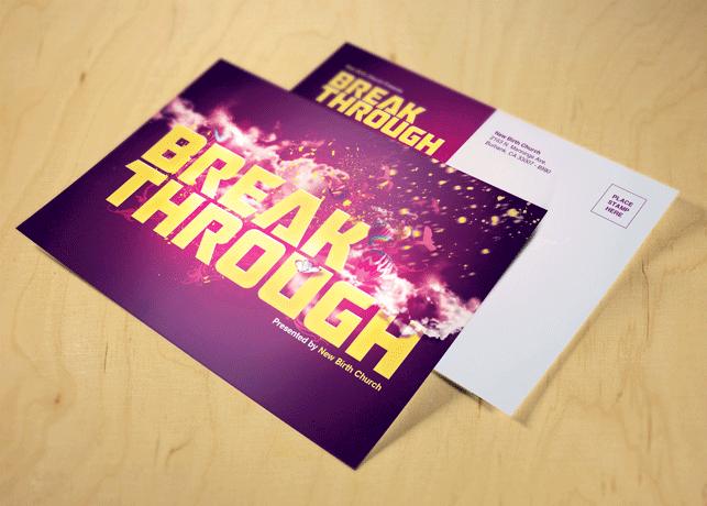 Break Through Church Postcard Template