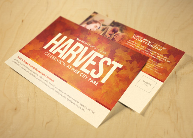 Harvest Celebration Church Postcard Template
