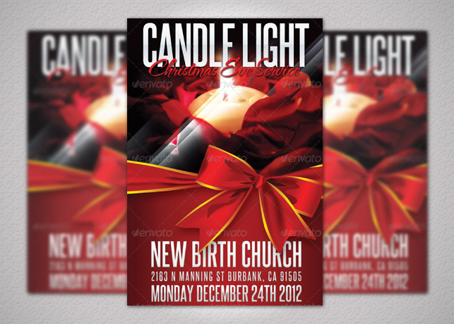 Candle Light Service Church Flyer Template
