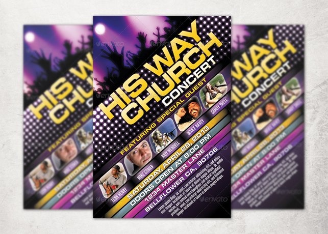 His Way Church Concert Flyer Template