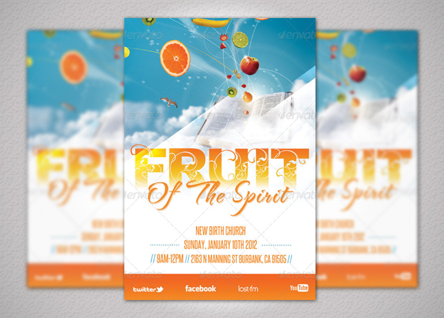 Fruit of the Spirit Church Flyer and CD Template
