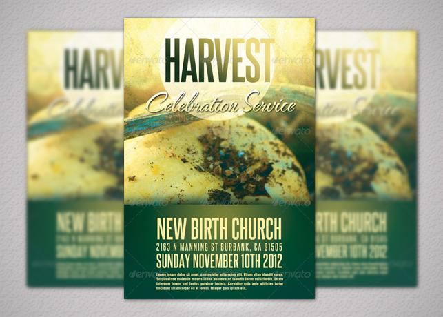 harvest and thanksgiving church flyer template