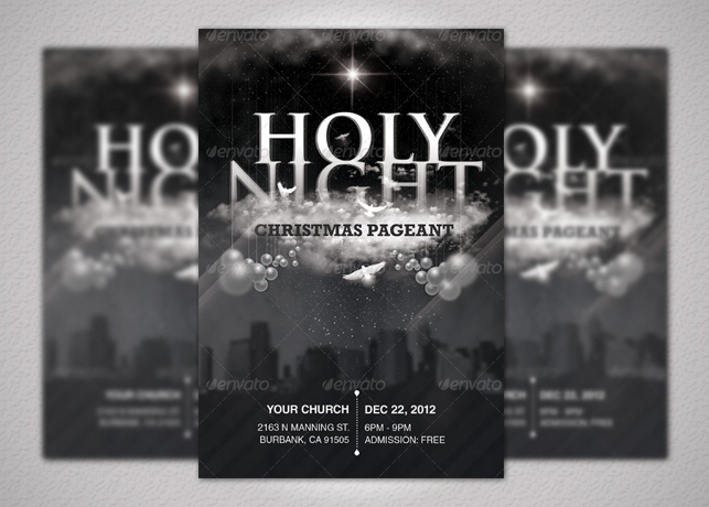 Holy Night Chirstmas Flyer and CD Label Template