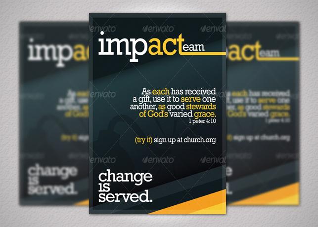Impacteam Church Flyer & Postcard Handout Set