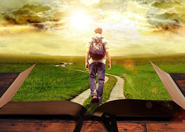 Man Walking on Path Leading Through Bible