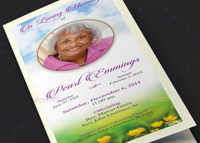 Memories Tri-fold Funeral Program Template