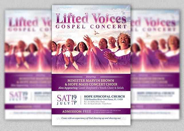 Modern Gospel Concert Church Flyer Template