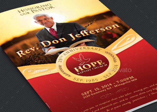 Pastor Anniversary Service Program Template