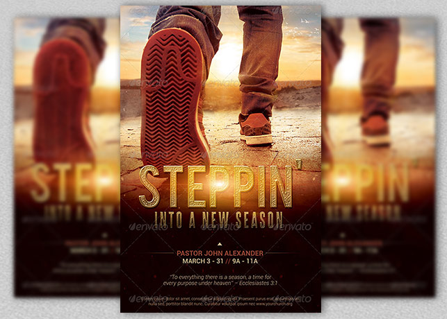 Stepping Into a New Season Church Flyer Template