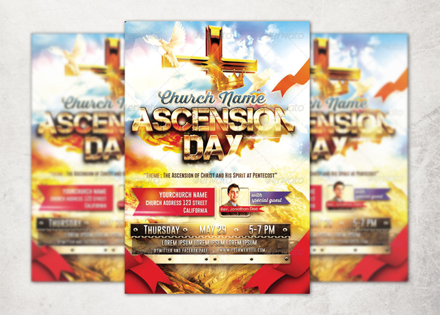 Ascension Day Church Flyer Template