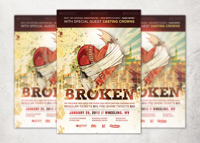 Broken Church Event Flyer, Ticket and CD Template
