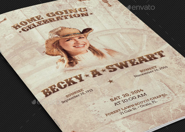 Cowgirl Funeral Program Template