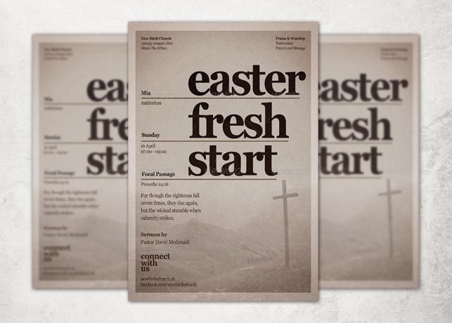 Easter Fresh Start Church Flyer Template
