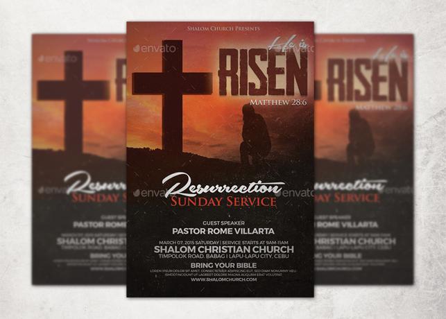 He is Risen Church Flyer Template