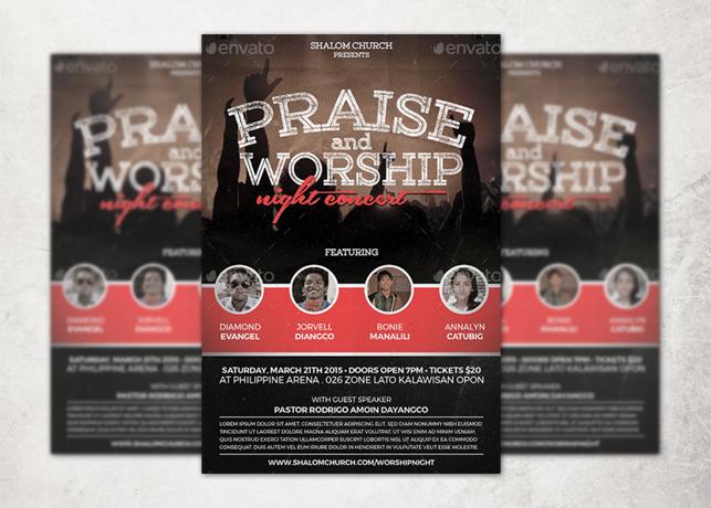 Praise and Worship Concert Church Flyer