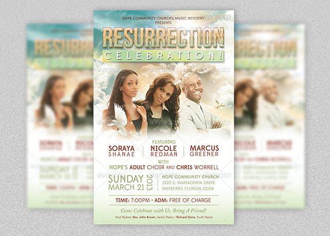 Resurrection Celebration Church Flyer Template