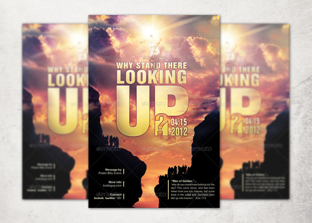 Why Stand There Looking Up? Church Flyer