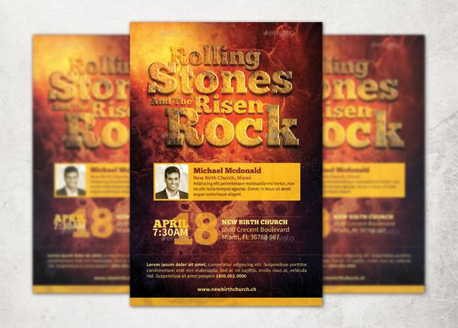Rolling Stones Risen Rock Church Flyer Template