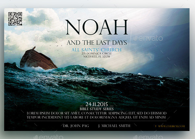 noah and the last days church flyer template