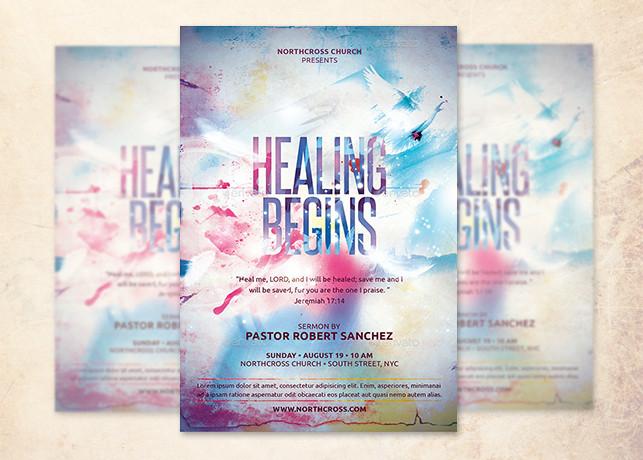 Healing Begins Church Flyer Template