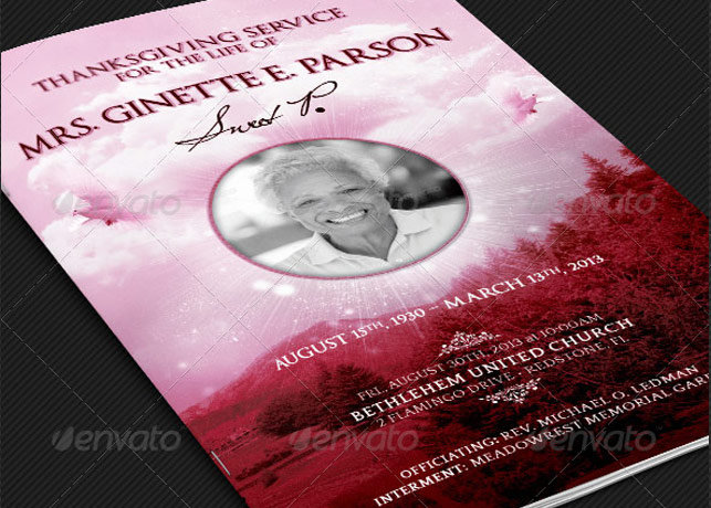 Pink Thanksgiving Funeral Program Template