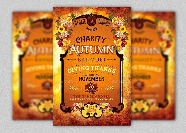Charity Autumn Banquet Flyer Template