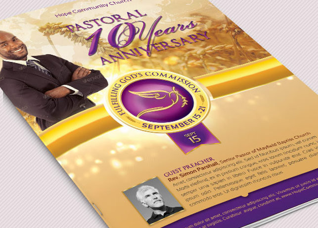 Clergy Anniversary Service Program Large Template