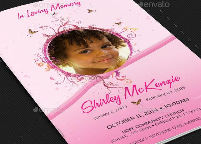Girls Pink Funeral Program Template