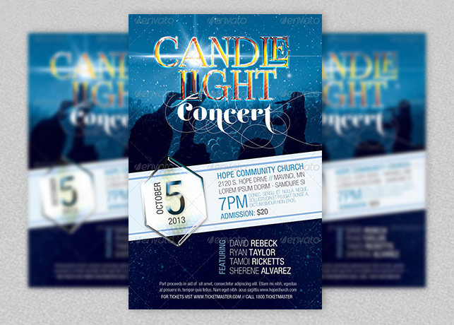 Candle Light Concert Flyer Template