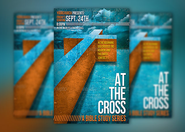 At The Cross Bible Study Church Flyer Template