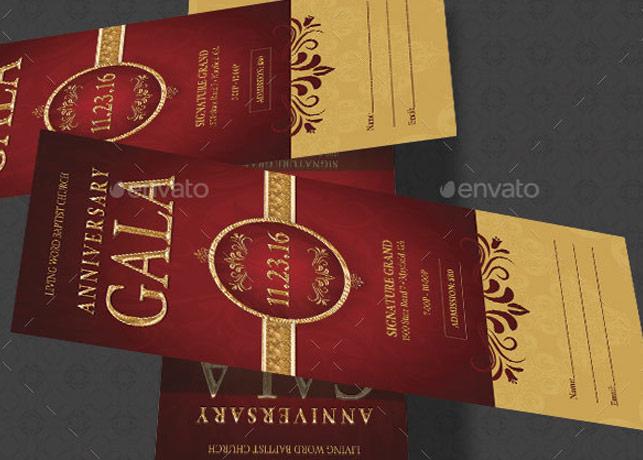 Church Anniversary Gala Ticket Photoshop Template