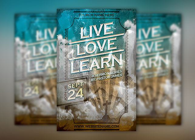 Live Love Learn Church Flyer Template